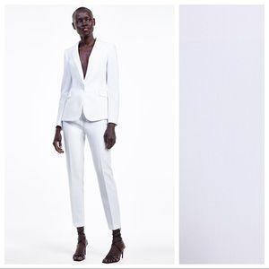 NWT. Zara  White Mid-rise Tuxedo Pants. Size M.